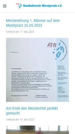 Vorschau der mobilen Webseite www.hv-wernigerode.de, HV Wernigerode