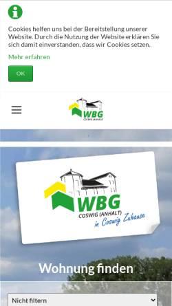 Vorschau der mobilen Webseite www.wohnungsbaugesellschaft-coswig-anhalt.de, Wohnungsbaugesellschaft mbH Coswig