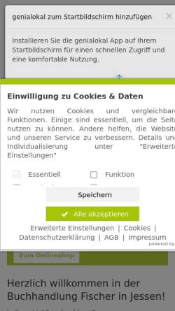Vorschau der mobilen Webseite fischers-buchhandlung.shop-asp.de, Buchhandlung Steffen Fischer