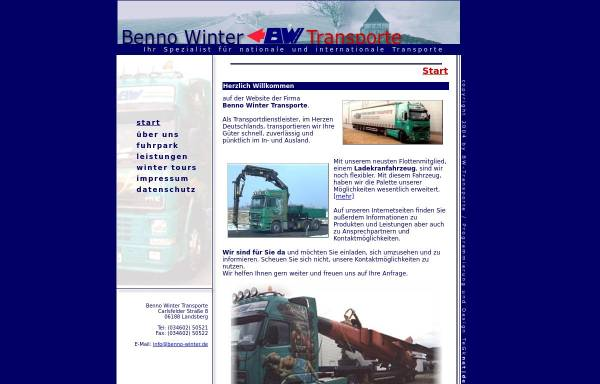 Vorschau von www.spedition-benno-winter.de, Benno Winter Transport GmbH
