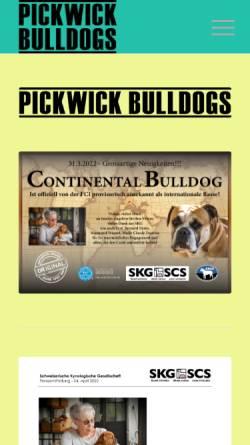 Vorschau der mobilen Webseite www.pickwick-bulldogs.ch, Pickwick Continental Bulldogs