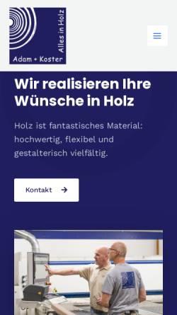 Vorschau der mobilen Webseite www.tischlerei-adam-koster.de, Tischlerei Adam und Koster