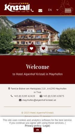 Vorschau der mobilen Webseite www.alpenhof-kristall.at, Alpenhof Kristall