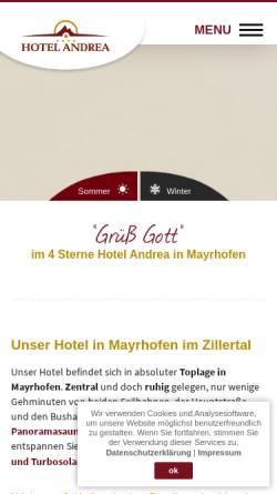 Vorschau der mobilen Webseite www.hotel-andrea.com, Hotel Andrea Mayrhofen