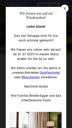 Vorschau der mobilen Webseite www.gutshof.cc, Hotel Gutshof Zillertal