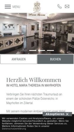 Vorschau der mobilen Webseite www.hotel-maria-theresia.com, Hotel Maria Theresia