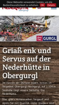 Vorschau der mobilen Webseite www.nederhuette.at, Nederhütte