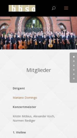 Vorschau der mobilen Webseite www.bbso.de, Berlin-Brandenburgisches Sinfonieorchester e.V.