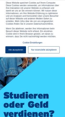 Vorschau der mobilen Webseite www.nordakademie.de, Nordakademie - Hochschule der Wirtschaft