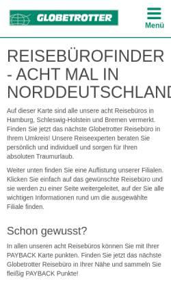 Vorschau der mobilen Webseite www.reiseland-globetrotter.de, Globetrotter Reisebüro
