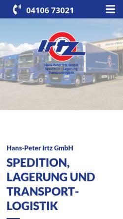 Vorschau der mobilen Webseite www.irtz.de, Spedition Hans Peter Irtz GmbH