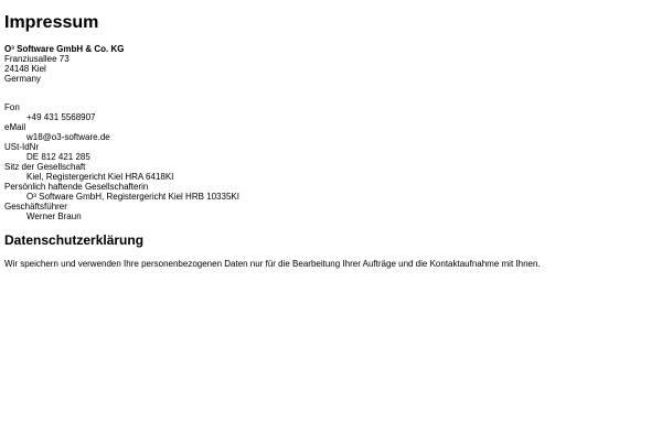 Vorschau von www.o3-software.de, O³ Software GmbH und Co. KG