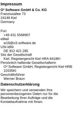 Vorschau der mobilen Webseite www.o3-software.de, O³ Software GmbH und Co. KG