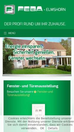 Vorschau der mobilen Webseite www.feba-elmshorn.de, Feba GmbH