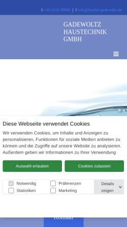 Vorschau der mobilen Webseite www.baeder-gadewoltz.de, Gadewoltz Haustechnik GmbH