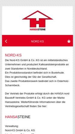 Vorschau der mobilen Webseite www.nord-ks.de, Nord-KS GmbH+Co.KG