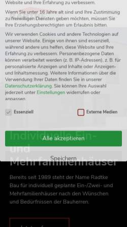 Vorschau der mobilen Webseite www.radtkebau.de, Radtke Bau GmbH