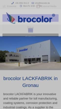 Vorschau der mobilen Webseite www.brocolor.de, Brocolor Lackfabrik GmbH