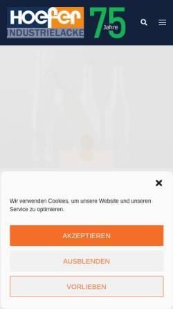 Vorschau der mobilen Webseite www.hoefer.de, Höfer GmbH Lackfabrik
