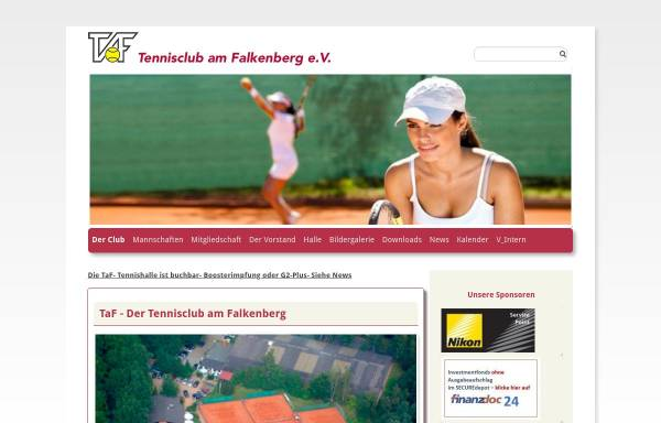 Vorschau von www.taf-tennis.de, Tennisclub am Falkenberg e.V.