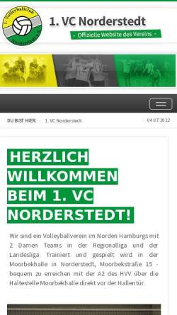 Vorschau der mobilen Webseite www.1vcn.de, 1. Volleyball-Club Norderstedt e.V.