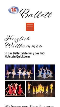 Vorschau der mobilen Webseite www.thq-ballett.de, TuS Holstein Quickborn - Ballettabteilung