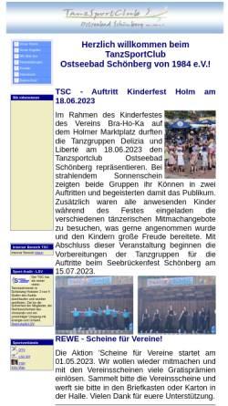 Vorschau der mobilen Webseite www.tanzsportclub-schoenberg.de, Tanzsportclub Schönberg von 1984 e.V.
