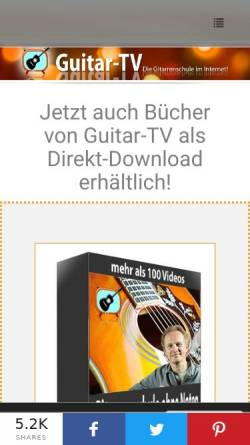 Vorschau der mobilen Webseite www.guitar-tv.de, Guitar-TV - Online Gitarre lernen