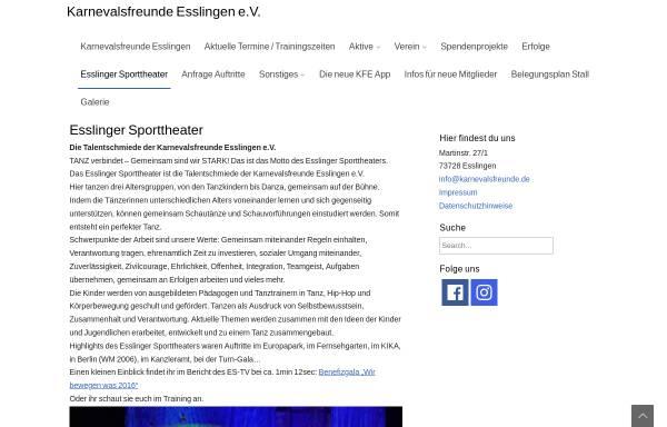 Vorschau von www.esslinger-sporttheater.de, Esslinger Sporttheater