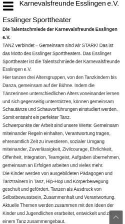 Vorschau der mobilen Webseite www.esslinger-sporttheater.de, Esslinger Sporttheater