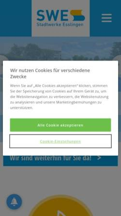 Vorschau der mobilen Webseite www.swe.de, Stadtwerke Esslingen am Neckar GmbH & Co. KG (SWE)