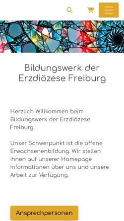 Vorschau der mobilen Webseite bildungswerk-erzbistum-freiburg.de, Bildungswerk der Erzdiözese Freiburg