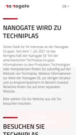 Vorschau der mobilen Webseite www.nanogate.de, Nanogate® GmbH