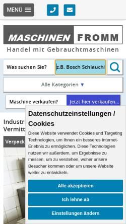 Vorschau der mobilen Webseite www.maschinenfromm.de, Maschinen Fromm