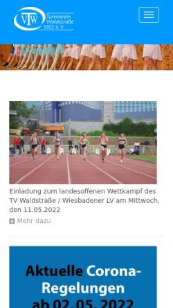 Vorschau der mobilen Webseite tv-waldstrasse.de, TV Waldstrasse Wiesbaden