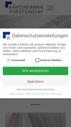 Vorschau der mobilen Webseite www.kartonfabrik.de, Kartonfabrik Porstendorf GmbH