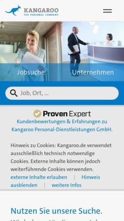 Vorschau der mobilen Webseite www.kangaroo.de, Kangaroo Personal-Dienstleistungen GmbH