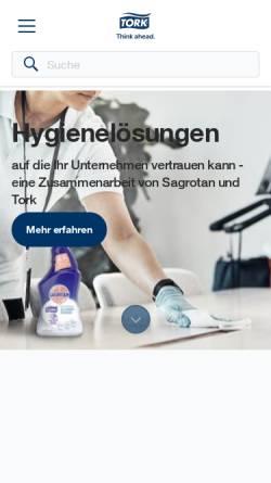 Vorschau der mobilen Webseite www.tork.de, Tork - SCA Hygiene Products GmbH