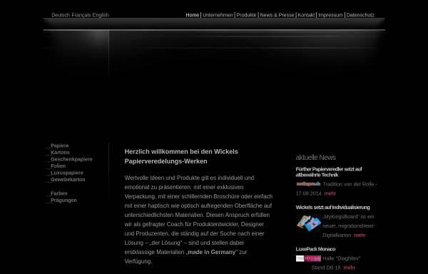 Vorschau von www.wickels.de, Wickels Papierveredelungs-Werke Buntpapierfabrik GmbH