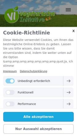 Vorschau der mobilen Webseite www.vegetarische-initiative.de, Fragen und Antworten zum Thema Milch