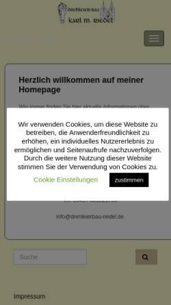 Vorschau der mobilen Webseite www.drehleierbau-riedel.de, Drehleierbau Karl M. Riedel