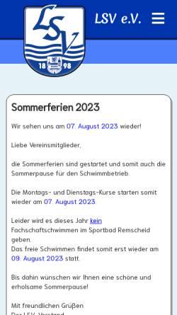 Vorschau der mobilen Webseite www.lenneper-schwimmverein.de, Lenneper Schwimmverein 1898 e.V.