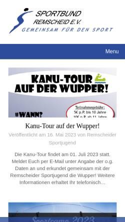 Vorschau der mobilen Webseite www.sportbund-remscheid.de, Sportbund Remscheid e.V.