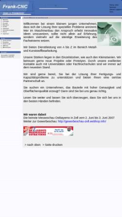 Vorschau der mobilen Webseite www.frank-cnc.de, Frank CNC-Dreh-. und Frästechnik, Inh. Markus Frank