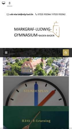 Vorschau der mobilen Webseite mlg-bad.net, Markgraf-Ludwig-Gymnasium
