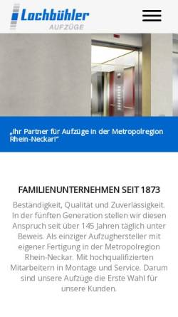Vorschau der mobilen Webseite www.lochbuehler.de, Lochbühler GmbH