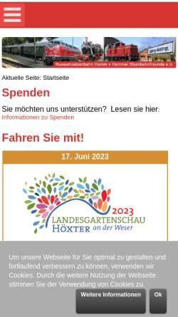 Vorschau der mobilen Webseite www.museumseisenbahn-hamm.de, Museumseisenbahn Hamm
