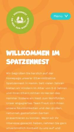 Vorschau der mobilen Webseite www.spatzennest-hamm.de, Kindertagesstätte
