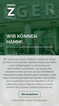 Vorschau der mobilen Webseite www.zoeger.de, Zoeger OHG