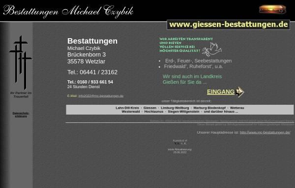 Vorschau von www.giessen-bestattungen.de, Bestattungsinstitut Michael Czybik